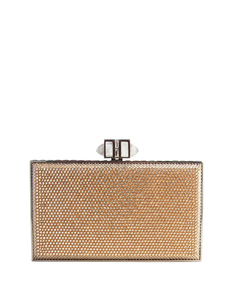 Crystal Coffered Rectangle Clutch Bag, Champagne