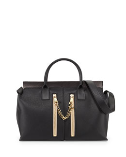 Chloe Cate Medium Double-Zip Satchel Bag, Black