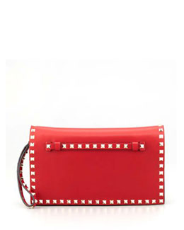Valentino Rockstud Flap Wristlet Clutch Bag, Red (Rosso)
