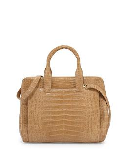 Nancy Gonzalez Crocodile Large Zip Tote Bag, Camel Matte