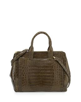 Nancy Gonzalez Crocodile Large Zip Tote Bag, Green Matte