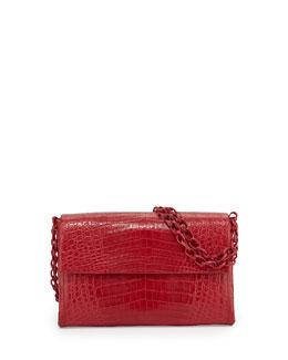 Nancy Gonzalez Crocodile Medium Flap Shoulder Bag, Red