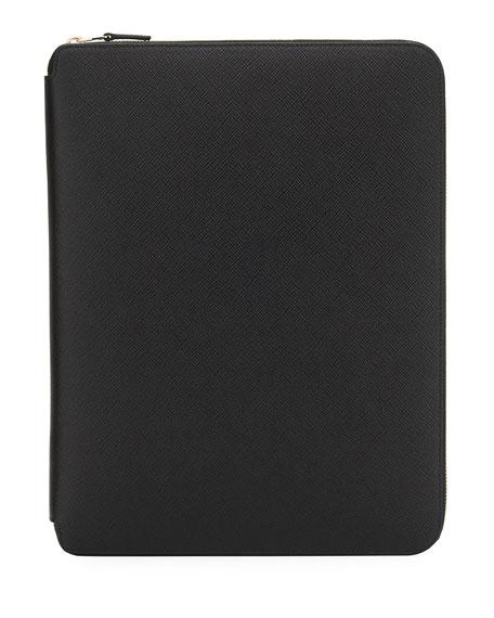 Smythson A4 Zip Folder with Notebook, Black