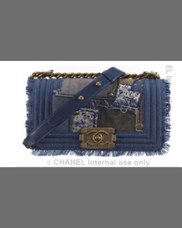 4900fe70d21d9a CHANEL Boy Patchwork Denim Crossbody Bag, Blue | Neiman Marcus