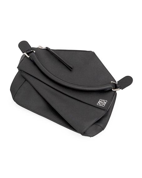 Large Leather Puzzle Bag, Black