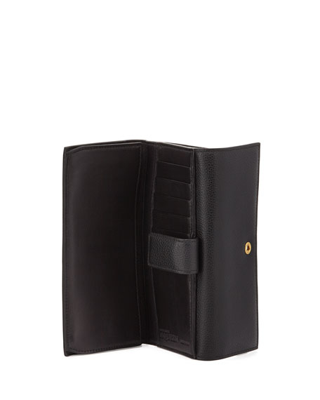 Skull Continental Leather Wallet, Black