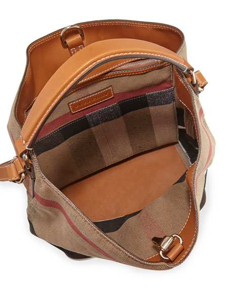 d91908de8f Burberry Susanna Medium Check Canvas Tote Bag, Saddle Brown