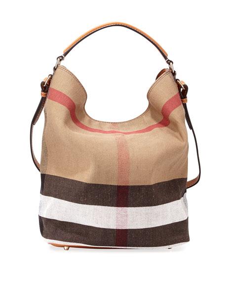 Burberry BritSusanna Medium Canvas/Calfskin Tote Bag, Saddle