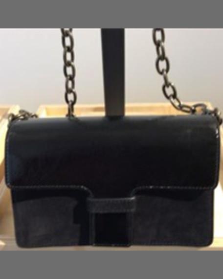 Tomas Maier Medium Patent Leather Shoulder Bag, Black