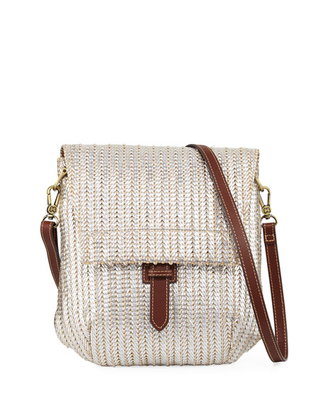 Eric Javits Jade Flap-Top Crossbody Messenger Bag, Silver