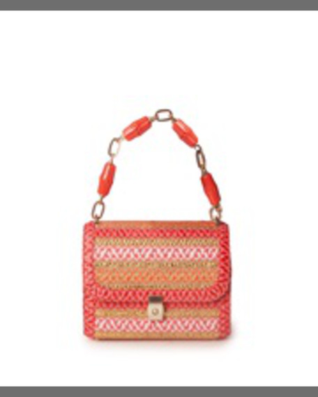 Eric Javits St. Barths Flap-Top Shoulder Bag, Coral