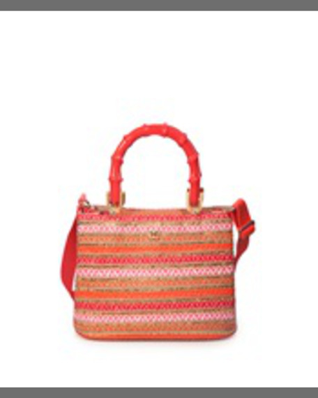 Eric Javits Leila Bamboo-Handle Tote Bag, Coral Mix
