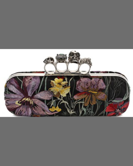 Alexander McQueenFloral Satin Knuckle Box Clutch Bag, Black