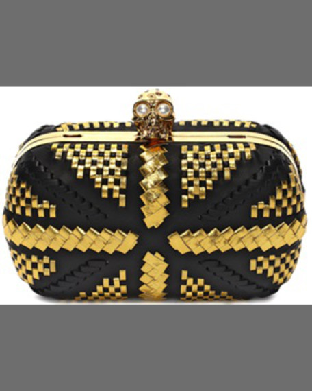 bliss Classic Woven Leather Skull Box Clutch Bag,