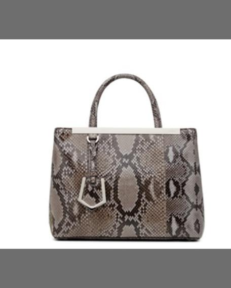 FENDI 2Jours Petite Python Satchel Bag, Dark Gray