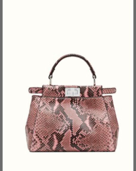 FENDIPeekaboo Mini Python Satchel Bag, Lollipop Pink