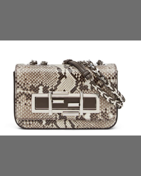 FENDI Baguette Mini Python Crossbody Bag, White