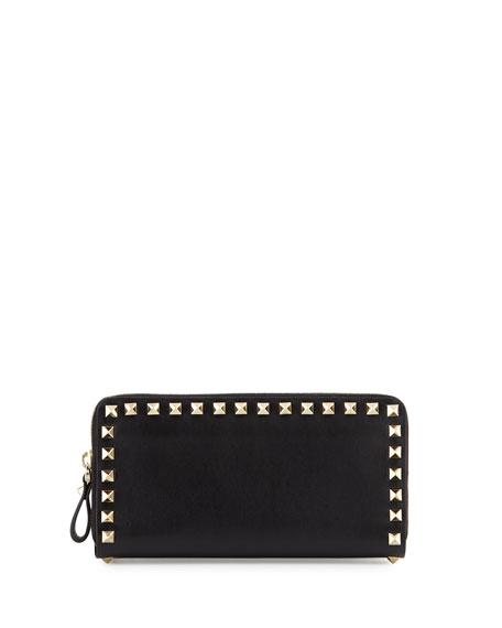 Valentino Rockstud Vitello Continental Zip Wallet, Fragola Bright