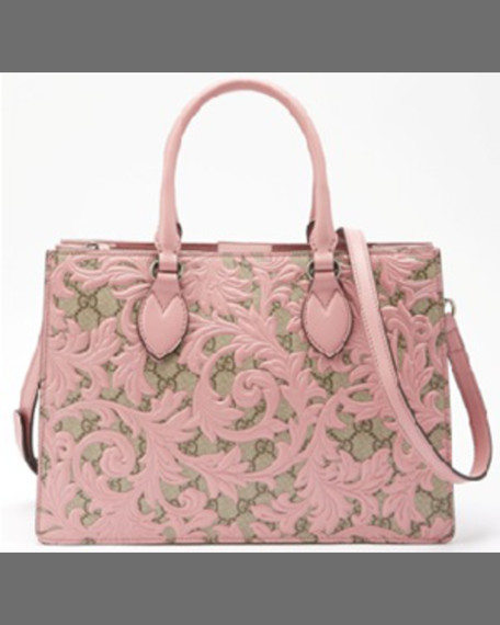 Gucci Arabesque Canvas Top Handle Bag, Rose Pink