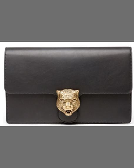 Gucci Animalier Large Full Flap Clutch, Nero