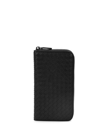 Bottega Veneta Woven Leather Extra Large Zip Wallet,