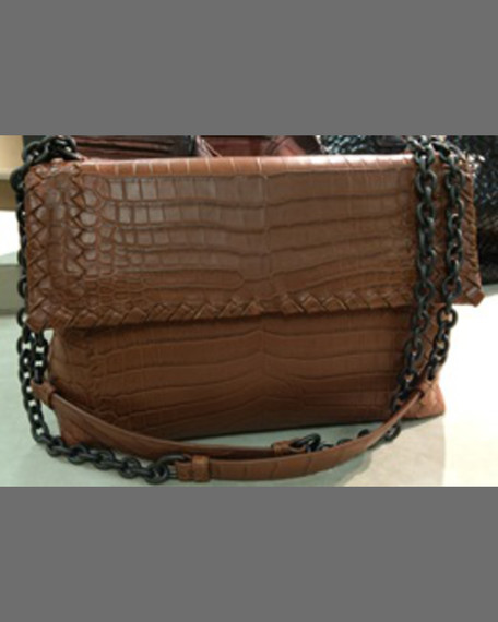 Bottega Veneta Olimpia Small Exotic Shoulder Bag, Nero