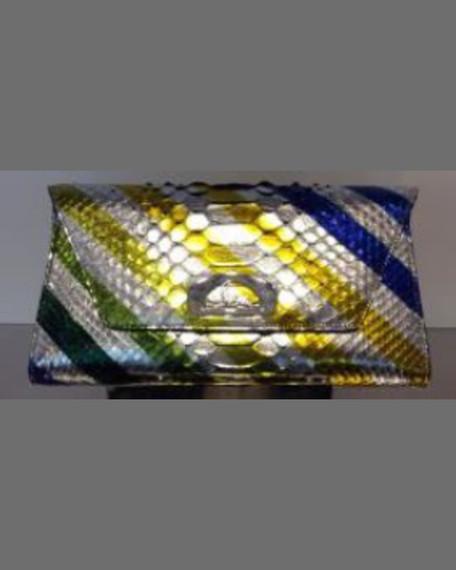 Christian Louboutin Vero-Dodat Metallic Striped Python Clutch,