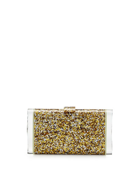Edie Parker Lara Backlit Confetti Clutch Bag, Gold/Silver