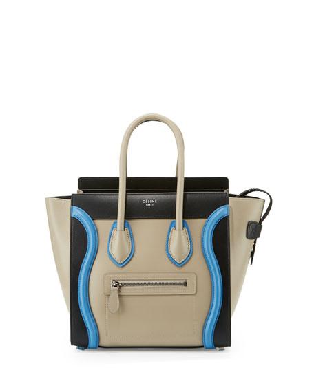 Celine Micro Luggage Tote Bag, Quartz/Multi