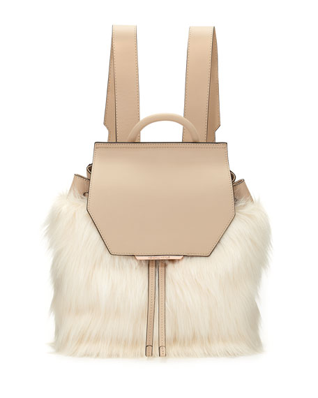 Nancy Leather Faux-Fur Backpack