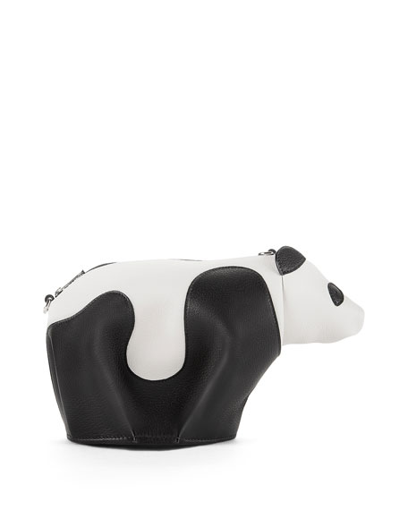 Leather Panda Mini Bag, Black/White