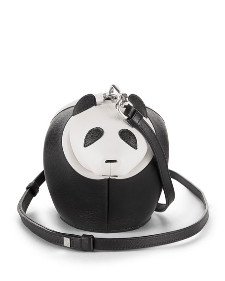 Loewe Leather Panda Mini Bag, Black/White
