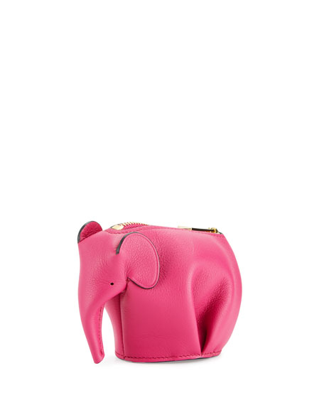 Loewe Leather Elephant Coin Purse, Fuchsia