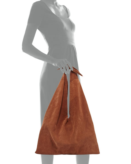 Bindle Knot Suede Hobo Bag, Saddle
