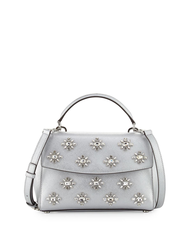 b01b258e2013 MICHAEL Michael Kors Ava Small Jeweled Satchel Bag, Gray | Neiman Marcus
