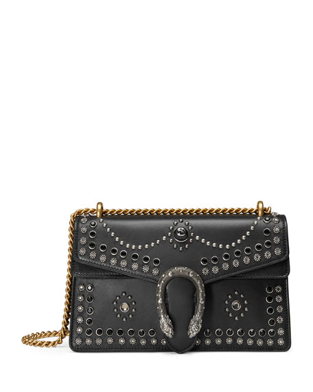 Dionysus Studded Shoulder Bag, Black