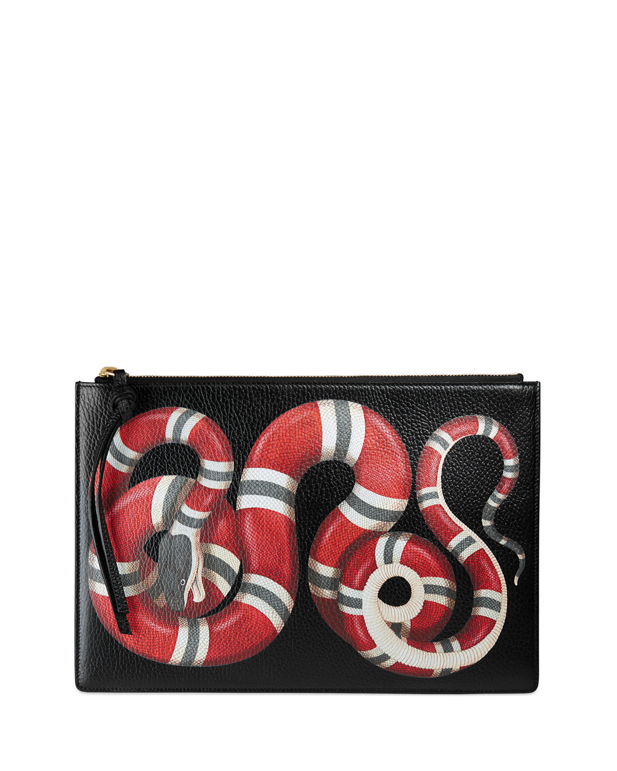 d385dcdb78468c Gucci Snake-Print Leather Clutch Bag, Black Pattern | Neiman Marcus
