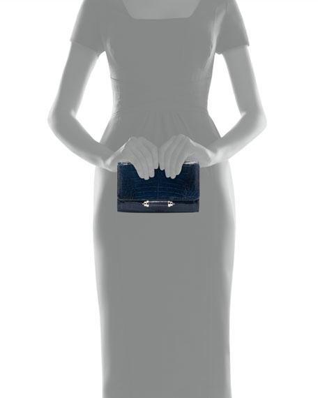 Sloane Mini Metallic Crocodile Evening Clutch Bag