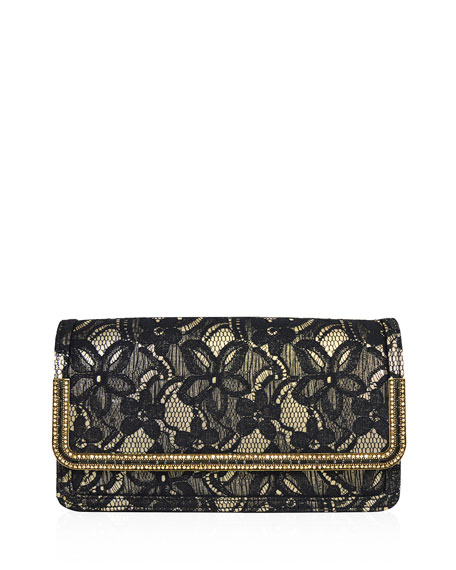 Lenox Lace Crystal-Trim Clutch Bag, Black/Gold