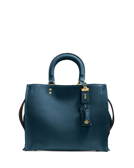 Rogue Small Leather Tote Bag, Blue