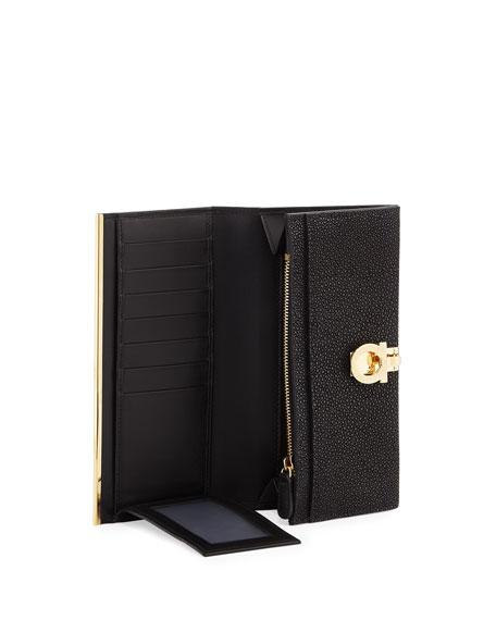 Gancio Clasp Stingray Flap Continental Wallet, Black