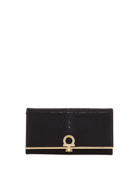 Salvatore Ferragamo Gancio Clasp Stingray Flap Continental