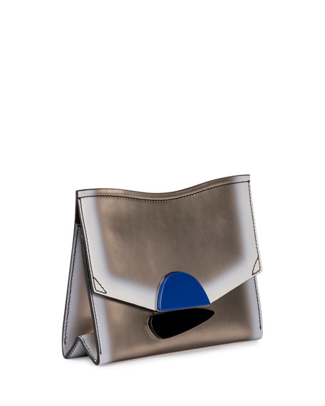 New Small Clutch Metallic Leather Bag, Light Gold/White