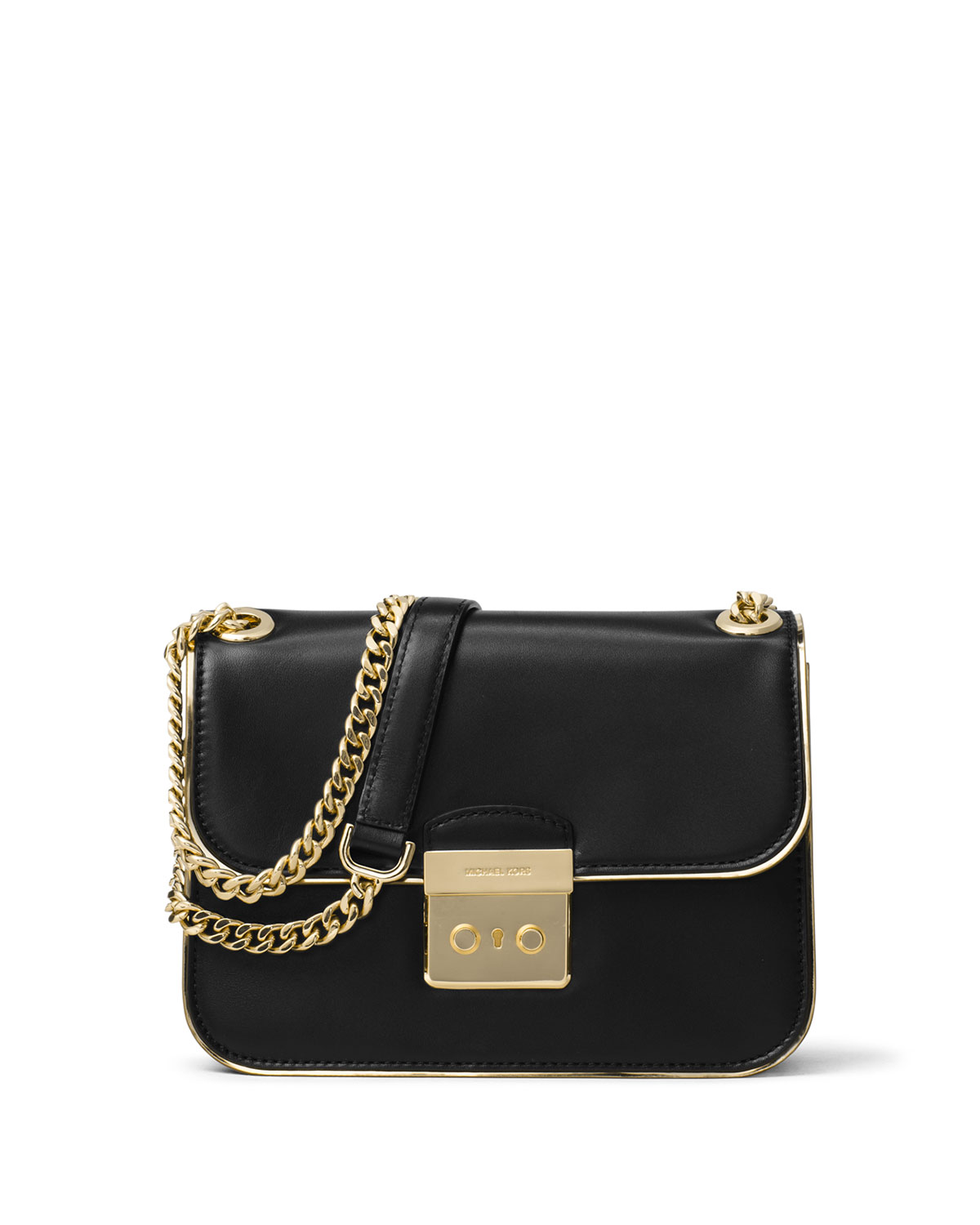 b6c34a519bd7 MICHAEL Michael Kors Sloan Editor Medium Leather Shoulder Bag, Black/Gold