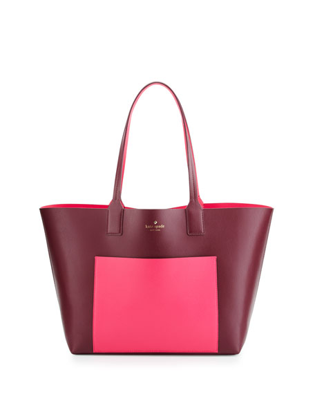 jones street posey colorblock tote bag, mulled berry/pink confetti