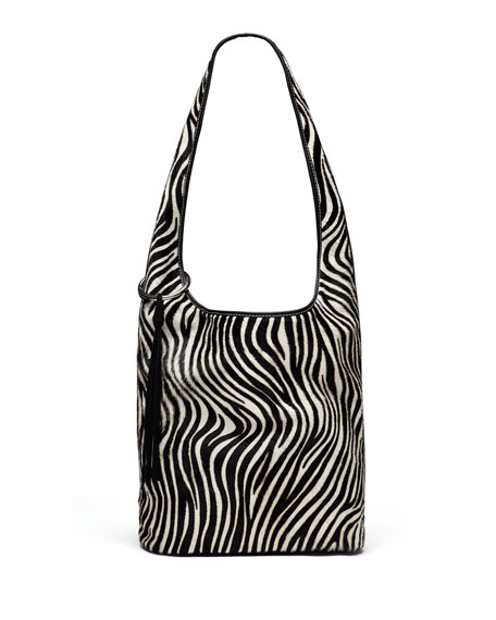 Elizabeth and James Finley Courier Zebra Calf-Hair Hobo