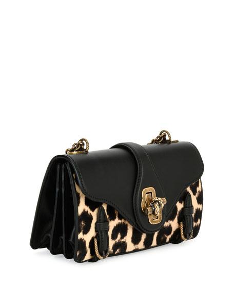 City Knot Calf-Hair Shoulder Bag, Leopard