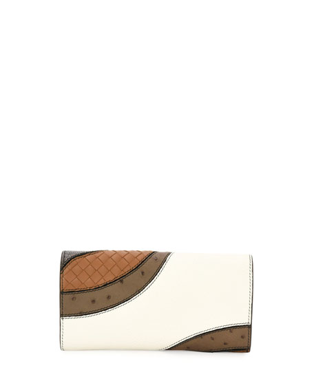 Patchwork Flap Continental Wallet, White/Multi