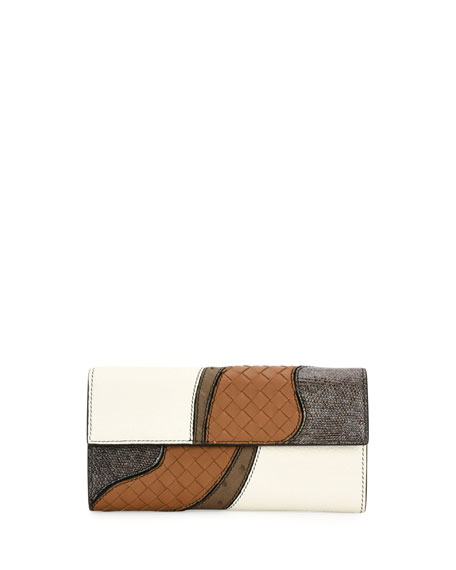 Bottega Veneta Patchwork Flap Continental Wallet, White/Multi