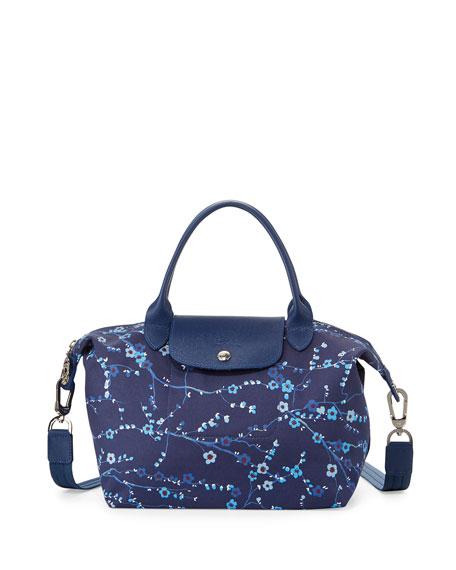 Le Pliage Néo Small Floral Handbag with Strap Navy Blue
